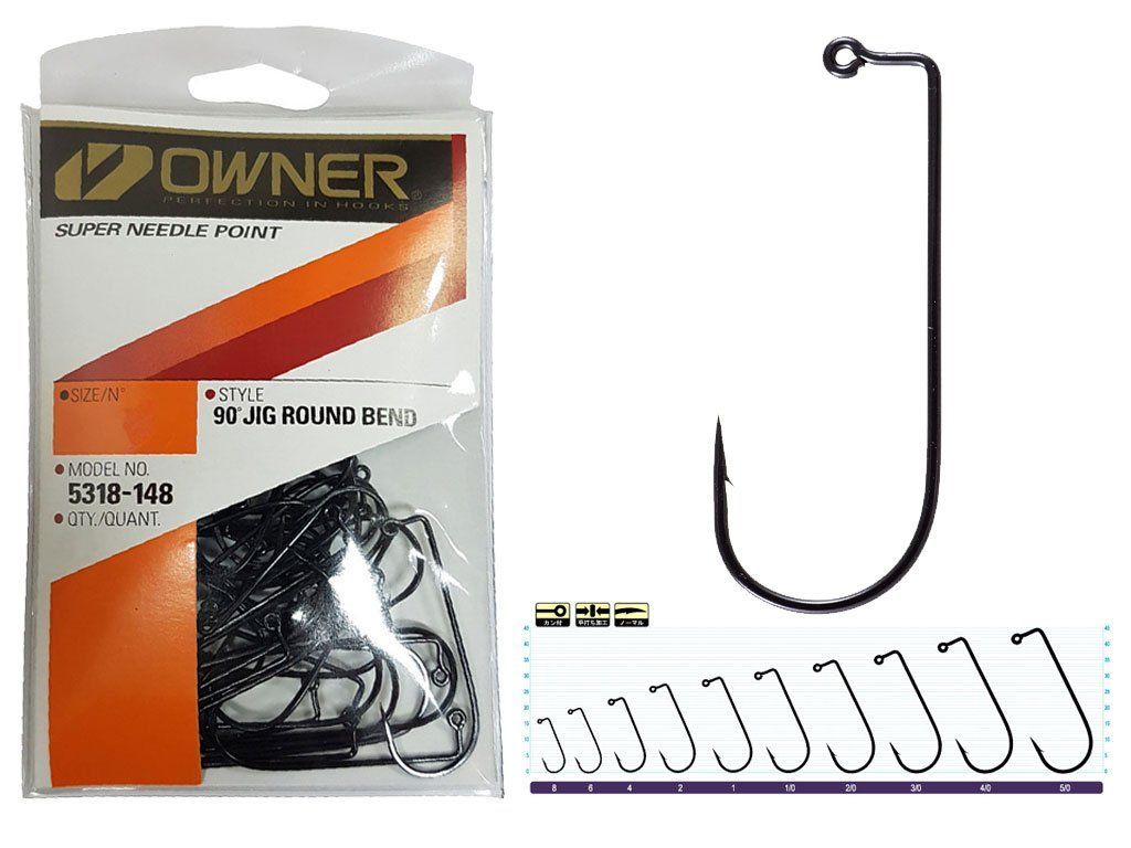 Owner Jig Hooks w/Super Needle Point Black 3/0