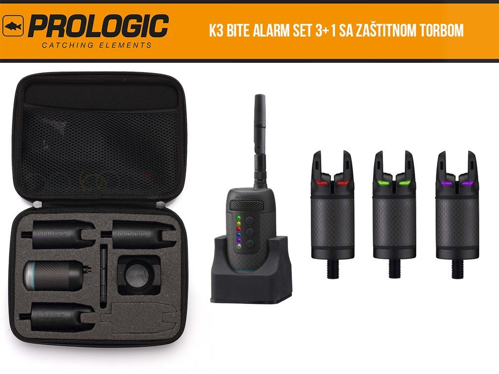 Prologic K3 Bite Alarm Set Waterproof Protective cover included NEW 2019