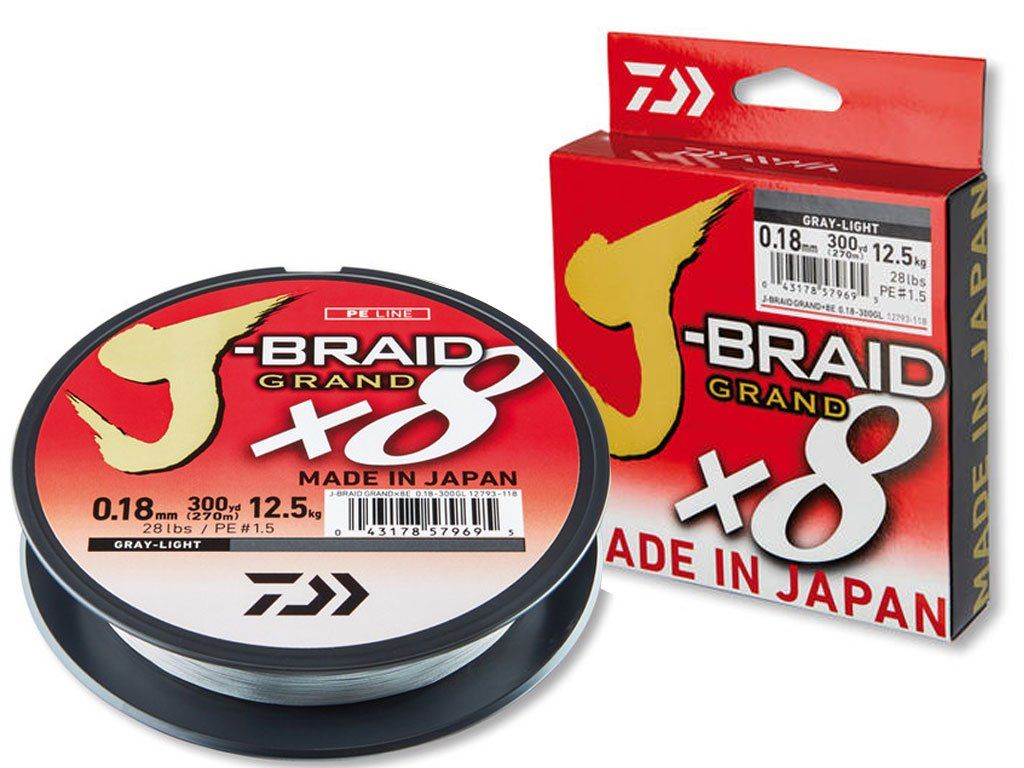 Daiwa J-Braid Grand x8 Light Greey 135m, 0.10mm